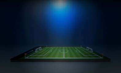 Phone on Football arena field with bright stadium lights vector design and information scoreboard. Vector illumination