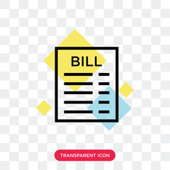 Bill vector icon isolated on transparent background, Bill logo design