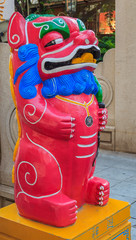 Chinese lion or foo dog Bixie or Pixiu standee photo props set for the Mooncake festival in Xiamen China