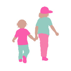 Children walking together, colorful silhouettes, friendship or family
