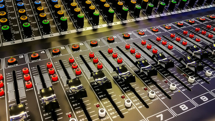 Sound Mixer - Stock image.Recording Studio, Sound Mixer, Directly Above, High Angle View, Sound Recording Equipment