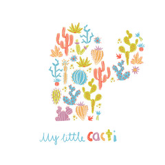 Vector illustration of hand drawn cactus. Cacti silhouette compo
