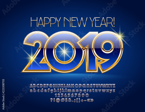 vector blue and gold luxurious greeting card happy new year 2019 rich font royal