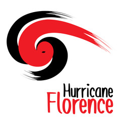 Brush style design of Hurricane Florence in big bold red and black strokes on an isolated white background