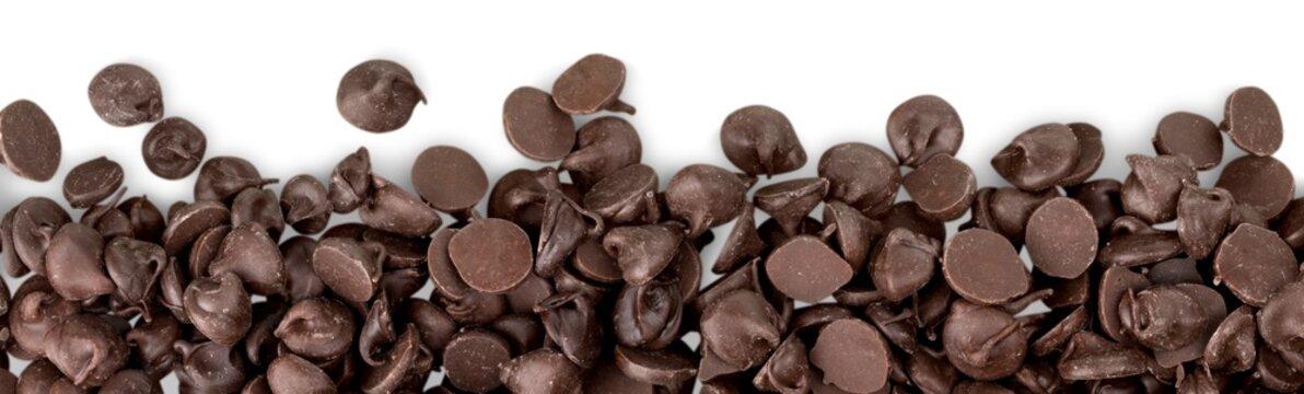 Chocolate chocolate chips isolated chunks decoration chocolate
