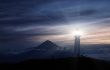 Photo sur Aluminium Phare Cape Egmont Lighthouse, New Zealand
