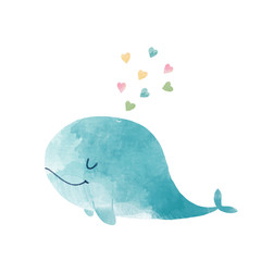 Watercolor whale illustration