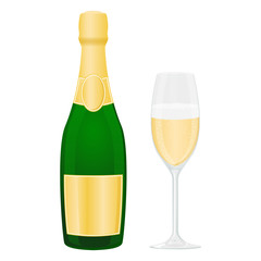 Bottle and glass of sparkling wine or champagne. Colored vector illustration