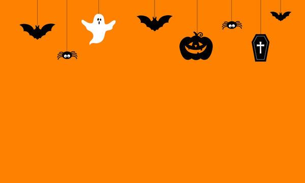 Happy Halloween Background vector illustration. Halloween hanging ornaments on orange background.