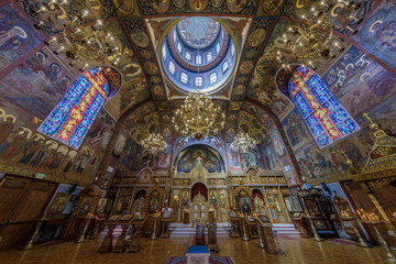 Interior of the Holy Virgin Cathedral. The Holy Virgin Cathedral, also known as Joy of All Who Sorrow, is a Russian Orthodox cathedral in the Richmond District of San Francisco.