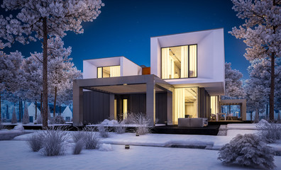 3d rendering of modern cozy house with garage and garden. Cool winter night with cozy warm light from windows. For sale or rent with beautiful white spruce on background