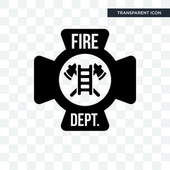 fire dept vector icon isolated on transparent background, fire dept logo design