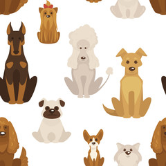Dog types and breeds canine animals seamless pattern vector