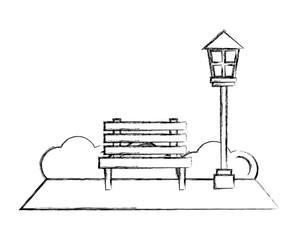 park bench lamppost bushes natural