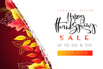 Vector greeting thanksgiving sale promotion banner with hand lettering label - happy thanksgiving - with bright autumn and doodle leaves
