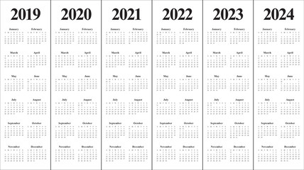 Year 2019 2020 2021 2022 2023 2024 calendar vector design template