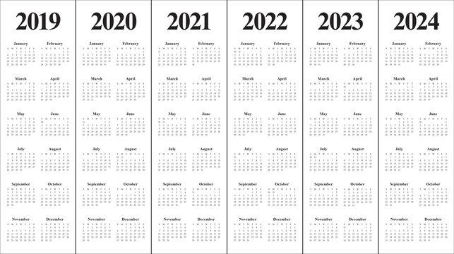 Year 2019 2020 2021 2022 2023 2024 calendar vector design template