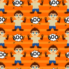 Abstract seamless pattern for girls or boy Creative vector background with a werewolf, halloween. Funny wallpaper for textile and fabric. Fashion werewolf, style. Colorful bright picture for children