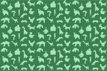 Green background with tree texture and silhouettes for puzzle tangrams