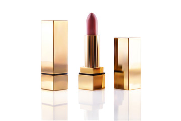 Realistic lipstick cosmetic makeup mockup set. Vector 3d pink red golden color pomade tube. Beauty fashion women gold accessory. Sexy elegant glamour face makeup cosmetics.