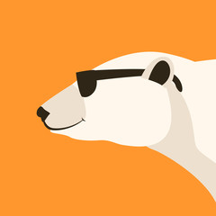 polar bear head    vector illustration flat style  profile