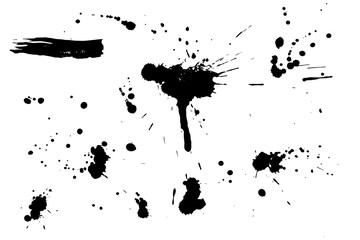 Set of black hand made blots and ink splashes