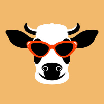 cow in the glasses face  vector illustration flat