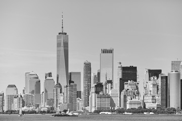 Black and white picture of the New York City skyline, USA.