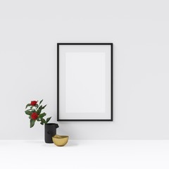 Frame or Poster Mockup with Interior Decoration