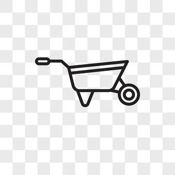 Wheelbarrow vector icon isolated on transparent background, Wheelbarrow logo design