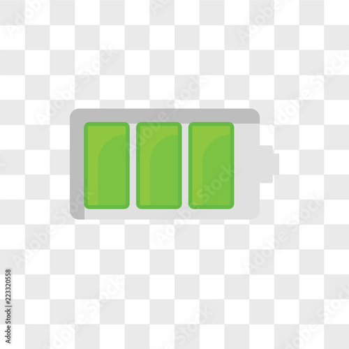 Battery status vector icon isolated on transparent