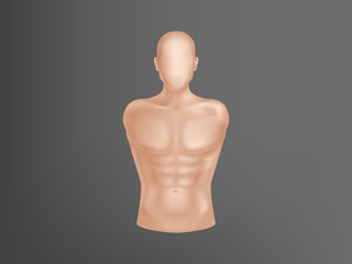 Vector 3d realistic human body. Man torso with muscles, athlete equipment for training. Trainer, apparatus isolated on dark background. Naked doll, manikin for exercises or fashion clothing.
