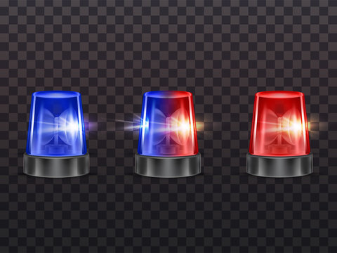 Vector 3d realistic red and blue flashers. Police, ambulance or other municipal service siren with light, rotating alert lamp. Transparent beacon for emergency isolated on dark background.