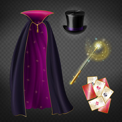Vector realistic set with illusionist equipment for tricks isolated on transparent background. Magician cape, black top hat, playing cards, magic wand with glow and sparkles. Clipart for your design