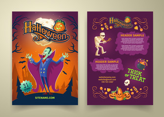 Vector Halloween invitation on list. Brochure template with headers. Background with count Dracula, scary mummy and cartoon pumpkins. Posters with website link isolated on gray background.