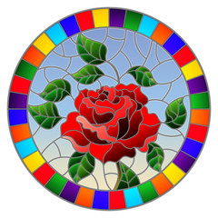 Illustration in stained glass style flower of red rose on a blue background in a bright frame,round image