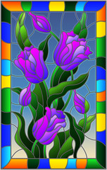 Illustration in stained glass style with a bouquet of purple tulips on a blue background in bright frame