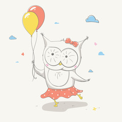 Lovely cute small owl in a skirt with polka dots with two colorful balloons. Beautiful cartoon animal.