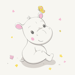 Lovely cute hippo sits in a clearing with a butterfly on the ear. Card with cartoon animal.