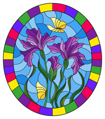 Illustration in stained glass style flower of purple irises and butterflies on a blue background in a bright frame,oval  image