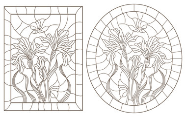 A set of contour illustrations of stained glass Windows with irises and butterflies in frames, dark contours on a white background, oval and rectangular image