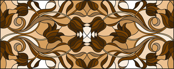 Illustration in stained glass style with abstract  tulip flowers,swirls and leaves  on a light background,horizontal orientation, sepia