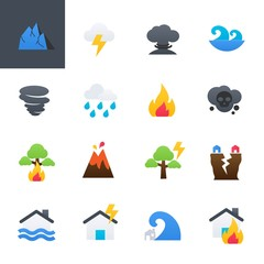 Natural Disaster Colourful Icons Set, Vector Illustration Design