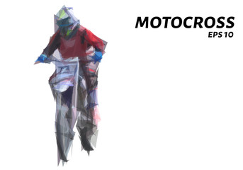 Motocross from triangles. Motocross low poly. Vector illustration.