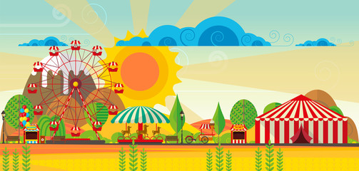 Vector amusement park lansdcape, abstract flat vector art.