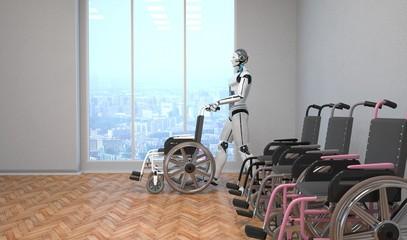 Roboter laufend als Pfleger mit einem Rollstuhl