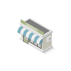 Isometric shop market. Illustration isolated on white background. Graphic concept for your design