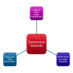 picture diagram 3 step of Determine hazards, listed all the hazards  (biological, chemical, allergens and physical) that could possibly