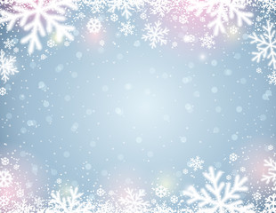 Blue  background with white blurred snowflakes, vector illustration
