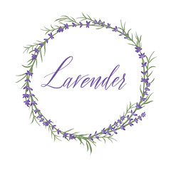 The lavender wreath with hand lettering word Lavender. Lavender